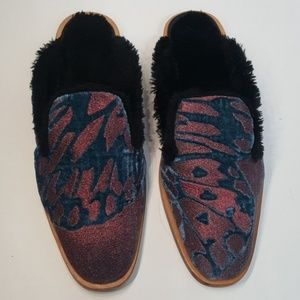 NWOT Free People Butterfly Effect faux fur mules